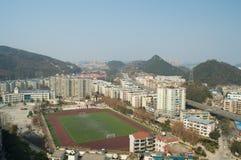 The citys stadium. A high school stadium located in the city Stock Photo