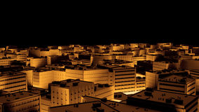 City sacpe in gold highlights tilt shift. 3d rendering Royalty Free Stock Images