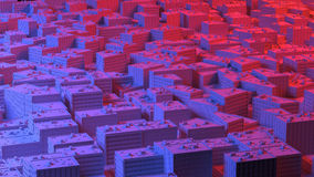 City sacpe in red and blue highlights. 3d rendering Royalty Free Stock Photos