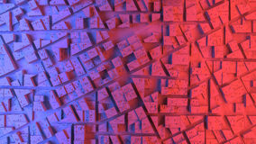 City sacpe in red and blue highlights. 3d rendering Royalty Free Stock Image