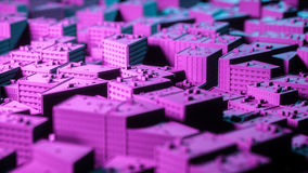 City sacpe in red and blue highlights tilt shift. 3d rendering Stock Photography