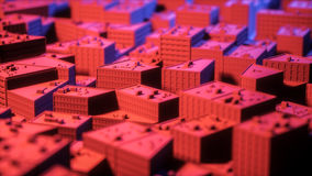 City sacpe in red and blue highlights tilt shift. 3d rendering Royalty Free Stock Image