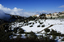 The city of Safed covered with snow Stock Photography