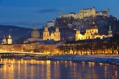 City salzburg in Austria. Panorama view of city salzburg in Austria at christmas night Royalty Free Stock Photos