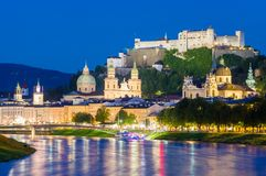 City of Salzburg with famous Festung Hohensalzburg and Salzach river royalty free stock photo