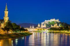 City of Salzburg with famous Festung Hohensalzburg and Salzach river stock image
