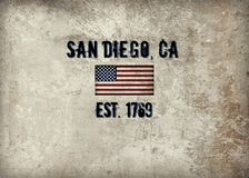 San Diego, CA. The city of San Diego, CA established in 1769 stock illustration