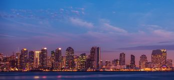 City of San Diego California. Dusk Skyline Panoramic Photo stock photography
