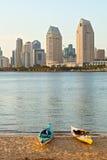 City of San Diego California, USA kayaks on the beach Stock Photo