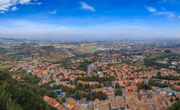 City of San Marino is capital city of Republic. Panorama of Republic of San Marino and Italy from Monte Titano, City of San Marino. City of San Marino is capital Royalty Free Stock Photography