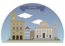City of San Marino. Capital city of the Republic of San Marino stock illustration