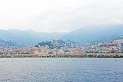 City of San Remo, Italy, view from the sea. City of San Remo, Italy, view from the sea stock photos