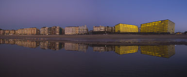 City of San Sebastian reflected in the water of the beach Royalty Free Stock Photo