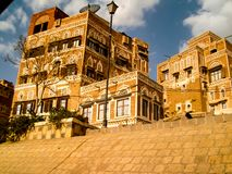 City of Sana 'a, streets and buildings of the city in Yemen stock photo