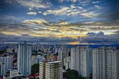 City Sao Jose dos Campos - Sao Paulo, Brazil - at sunset with cloudy sky. Photo of city Sao Jose dos Campos - Sao Paulo, Brazil - with cloudy sky Royalty Free Stock Photos