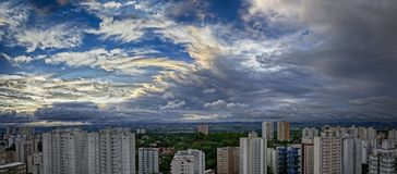 City Sao Jose dos Campos - Sao Paulo, Brazil - at sunset with cloudy sky. Photo of city Sao Jose dos Campos - Sao Paulo, Brazil - with cloudy sky Royalty Free Stock Images