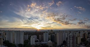 City Sao Jose dos Campos, SP / Brazil, at sunset panorama photo. Photo of City Sao Jose dos Campos, SP / Brazil, at sunset panorama photon Stock Image