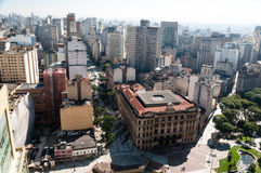 City of Sao Paulo, Brazil. Aerial view of the city of sao paulo. Detail Vale do Anhangabau and post office building Stock Photo