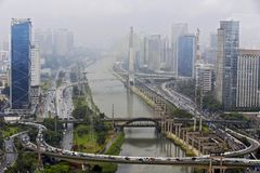 The city of Sao Paulo seen from above, in the region of Marginal stock photography