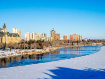 City of Saskatoon Winter Panoramic Royalty Free Stock Images