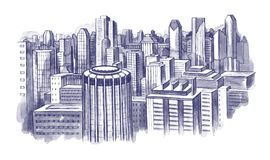 City scape. Handdrawn illustration of contemporary city scape Royalty Free Stock Images