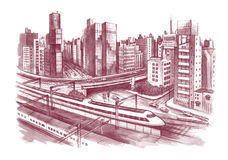 City scape. Contemporary city scape with railway Stock Photos