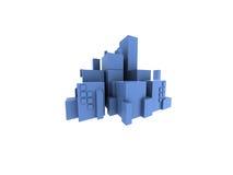 City scape blue. 3d model of a blue city Stock Photo