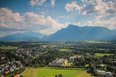 Top view of Alps from Salzburg. City scape building and mountain  of Salzburg  Austria Royalty Free Stock Photos