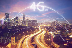 City scape and connection concept and 4g LTE font stock image