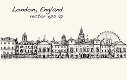 City scape drawing in London, England, show old castle  Royalty Free Stock Photos