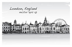 City scape drawing in London, England, show old castle  Stock Photography