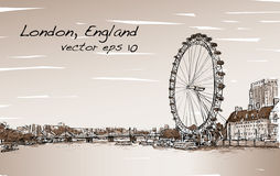 City scape drawing London eye and bridge, river in Sepia tone Stock Photography