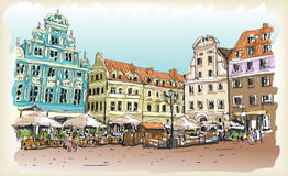 City scape drawing sketch in Poland downtown. City scape drawing sketch outline in Poland downtown Royalty Free Stock Photo