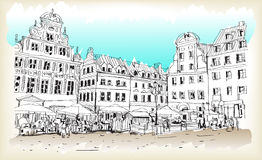 City scape drawing sketch in Poland downtown vector. City scape drawing sketch in Poland downtown illustration vector Stock Photos