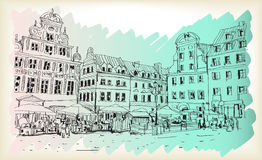 City scape drawing sketch in Poland downtown vector. City scape drawing outline sketch in Poland downtown vector Stock Photos
