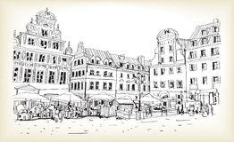City scape drawing sketch in Poland downtown vector. City scape drawing sketch outline in Poland downtown vector Royalty Free Stock Photography