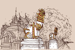 City scape drawing sketch in Thailand at temple Prasat, lion scu. Lpture Stock Images