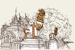 City scape drawing sketch in Thailand at temple Prasat, lion scu. Lpture Royalty Free Stock Photos