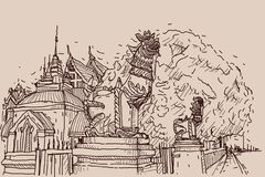 City scape drawing sketch in Thailand at temple Prasat, lion scu. Lpture Stock Photography