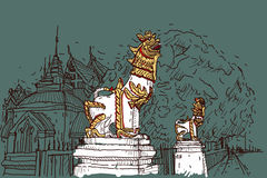 City scape drawing sketch in Thailand at temple Prasat, lion scu. Lpture Royalty Free Stock Photography