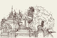 City scape drawing sketch in Thailand at temple Prasat, lion scu. Lpture Royalty Free Stock Images