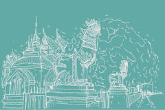 City scape drawing sketch in Thailand at temple Prasat, lion scu. Lpture Stock Image