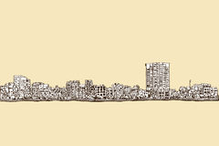 City scape free hand drawing, Hanoi city,  and illustratio. N Stock Image