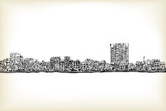 City scape free hand drawing, Hanoi city, vector and illustratio. N Royalty Free Stock Images