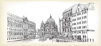 City scape in Germany. Berlin Cathedral. Old building hand drawn. Sketch,  illustration Stock Photography