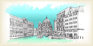 City scape in Germany. Berlin Cathedral. Old building hand drawn. Sketch, illustration Royalty Free Stock Photos