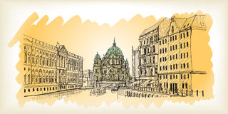 City scape in Germany. Berlin Cathedral. Old building hand drawn. Sketch, vector illustration Royalty Free Stock Images