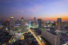 City scape in heart of bangkok thailand with beautiful lighting Stock Photo