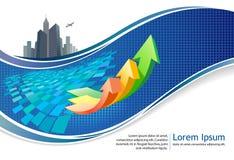 City-scape het ontwerp van de bedrijfs de groeibrochure Stock Afbeelding