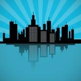 City Scape Illustration. Retro Blue City Scape Illustration Stock Images
